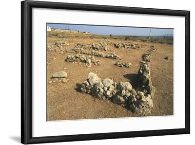 Italy, Sicily Region, Province of Siracusa, Thapsos Archaeological Site, Ruins of Village Huts--Framed Giclee Print