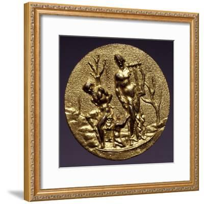 Plaque Depicting the God Apollo and Marsyas, Gilt Brass, Florentine or Roman Scope, Italy--Framed Giclee Print