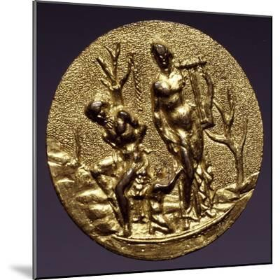 Plaque Depicting the God Apollo and Marsyas, Gilt Brass, Florentine or Roman Scope, Italy--Mounted Giclee Print