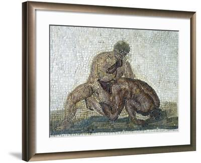 Pair of Wrestlers, Mosaic Uncovered in Gighti, Tunisia, 3rd Century--Framed Giclee Print