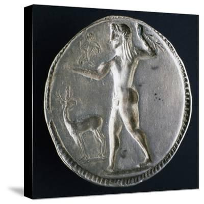 Silver Stater from Caulonia Depicting Male Nude, Verso, Greek Coins--Stretched Canvas Print