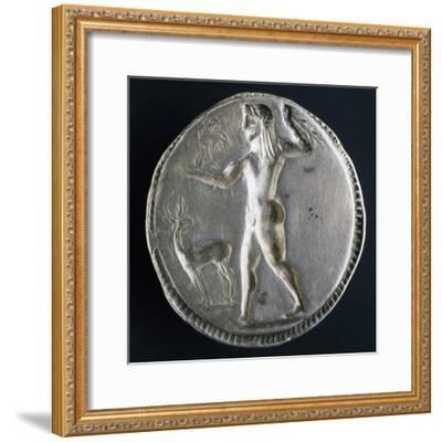 Silver Stater from Caulonia Depicting Male Nude, Verso, Greek Coins--Framed Giclee Print