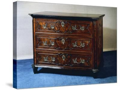 Rococo Style Walnut and Walnut Root Lombard Chest of Drawers, Italy--Stretched Canvas Print