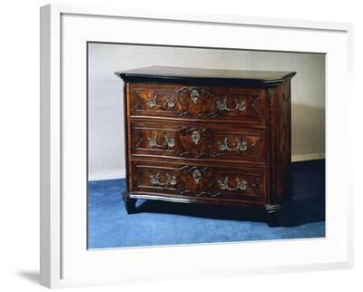 Rococo Style Walnut and Walnut Root Lombard Chest of Drawers, Italy--Framed Giclee Print