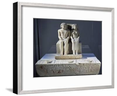 Chancellor Ankhoudjes and His Wife Tepemnefret in Front of Offering Table--Framed Giclee Print