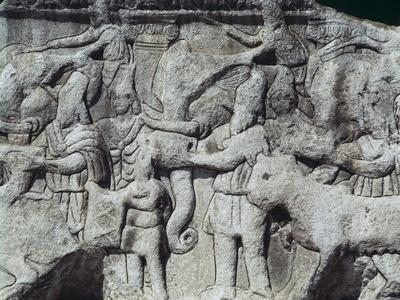 War Scene with Elephants, Detail from Relief on Arch of Galerius, Ca 297--Premium Giclee Print