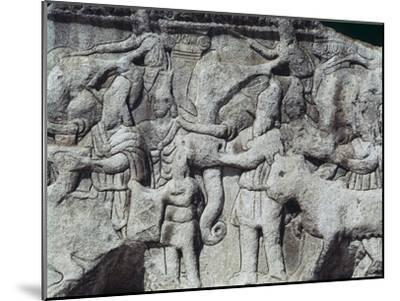 War Scene with Elephants, Detail from Relief on Arch of Galerius, Ca 297--Mounted Giclee Print
