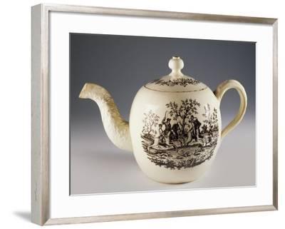 Teapot with Fox Hunting Scenes, Ca 1760, Ceramic, Staffordshire Manufacture. England.--Framed Giclee Print