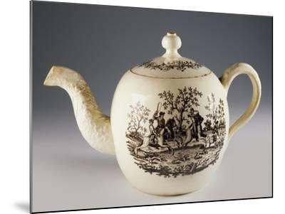 Teapot with Fox Hunting Scenes, Ca 1760, Ceramic, Staffordshire Manufacture. England.--Mounted Giclee Print