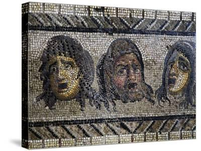 Tragic Masks, Detail from Mosaic of Triumph of Dionysus Uncovered in Daphne, Antioch, Turkey--Stretched Canvas Print