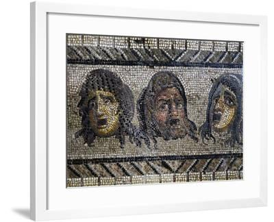 Tragic Masks, Detail from Mosaic of Triumph of Dionysus Uncovered in Daphne, Antioch, Turkey--Framed Giclee Print