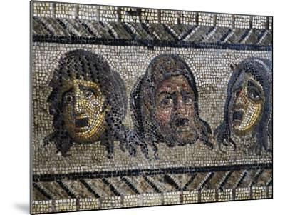 Tragic Masks, Detail from Mosaic of Triumph of Dionysus Uncovered in Daphne, Antioch, Turkey--Mounted Giclee Print