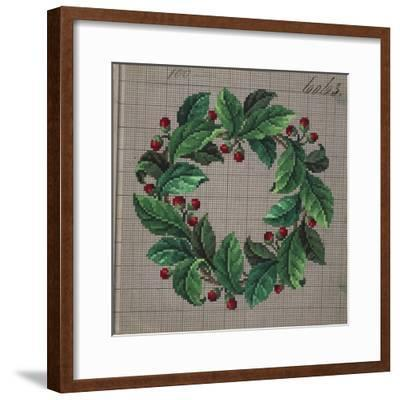 Crown of Leaves and Buds Embroidery Design--Framed Giclee Print