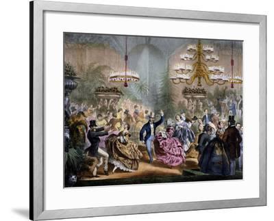 Dance in Winter Garden, 33 Champs-Elysees, Paris, Ca 1865, France--Framed Giclee Print
