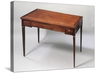 Louis XVI Style Games Table Desk with Leather Covered Top. France--Stretched Canvas Print