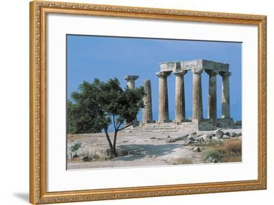 Old Ruins of a Temple, Temple of Apollo, Corinth, Peloponnesus, Greece--Framed Giclee Print