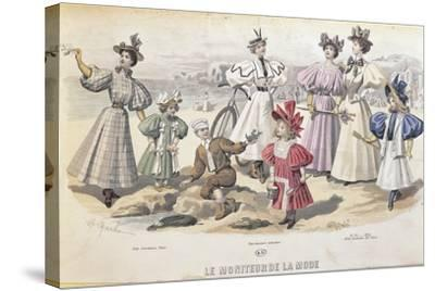 On the Beach. from Moniteur De La Mode, 1895--Stretched Canvas Print