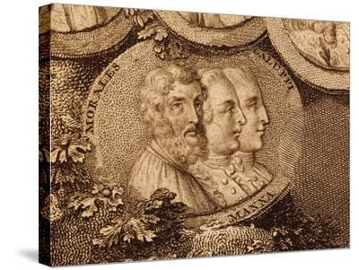 Portraits of Musicians Cristobal De Morales, Ruggero Manna and Baldassarre Galuppi--Stretched Canvas Print