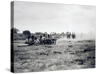 Italian Officers Training Native Troops to Use Artillery, Italian Colonialism in East Africa--Stretched Canvas Print