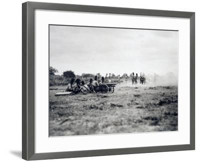 Italian Officers Training Native Troops to Use Artillery, Italian Colonialism in East Africa--Framed Giclee Print