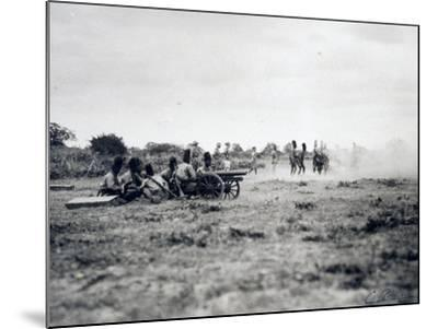 Italian Officers Training Native Troops to Use Artillery, Italian Colonialism in East Africa--Mounted Giclee Print