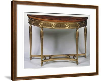 Wall Table with Legs and Stretchers in Gilded Wood, Inlaid and Painted Top, United Kingdom--Framed Giclee Print
