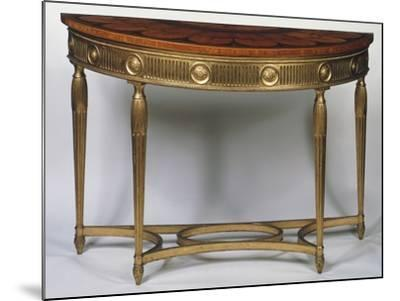 Wall Table with Legs and Stretchers in Gilded Wood, Inlaid and Painted Top, United Kingdom--Mounted Giclee Print
