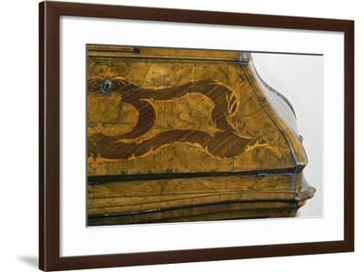 Walnut Lombard Trumeau Cabinet with Decorative Motifs in Rosewood and Boxwood, Italy, Detail--Framed Giclee Print
