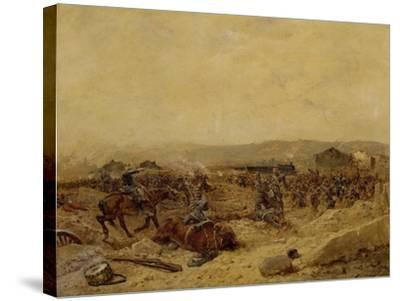 Chasseurs XII Arriving at Peltre, September 27, 1870. Franco-Prussian War--Stretched Canvas Print