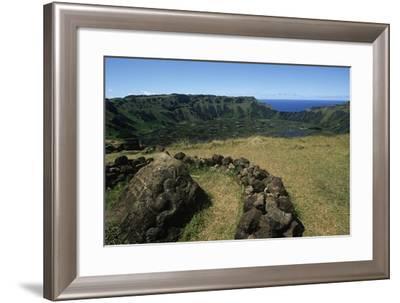 Chile, Easter Island, Rapa-Nui National Park, Rano Kau Volcano and Crater Lake--Framed Giclee Print