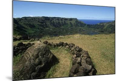 Chile, Easter Island, Rapa-Nui National Park, Rano Kau Volcano and Crater Lake--Mounted Giclee Print