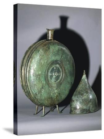 Bronze Flask and Helmet, from Tomb of Prince, Austria--Stretched Canvas Print