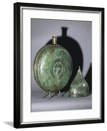 Bronze Flask and Helmet, from Tomb of Prince, Austria--Framed Giclee Print