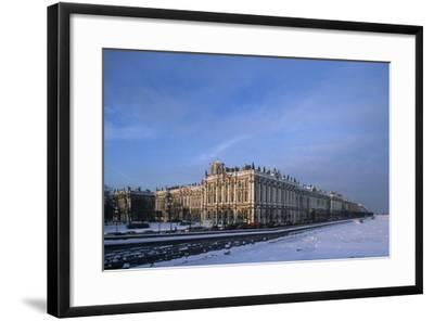 Russia, Saint Petersburg, Hermitage Museum and Ice Covered Neva River--Framed Giclee Print