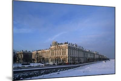 Russia, Saint Petersburg, Hermitage Museum and Ice Covered Neva River--Mounted Giclee Print