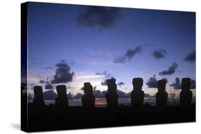 Chile, Easter Island, Rapa-Nui National Park, Ahu Akivi--Stretched Canvas Print