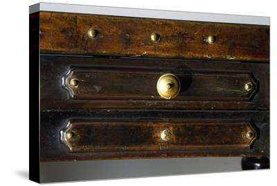Detail of Drawers of Walnut Library Table, Made in Bologna, Italy, 16th Century--Stretched Canvas Print