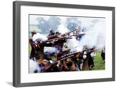 English Civil War, Musket Fire in Battle, Historical Re-Enactment--Framed Giclee Print