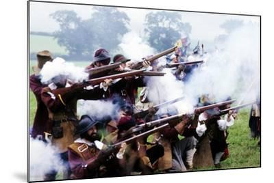 English Civil War, Musket Fire in Battle, Historical Re-Enactment--Mounted Giclee Print