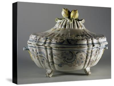 Tureen Decorated with Embossed Plant Motifs and Fruit, Majolica--Stretched Canvas Print
