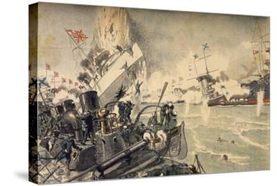 Battle of Tsushima Between Russian and Japanese Fleets, May 1905--Stretched Canvas Print