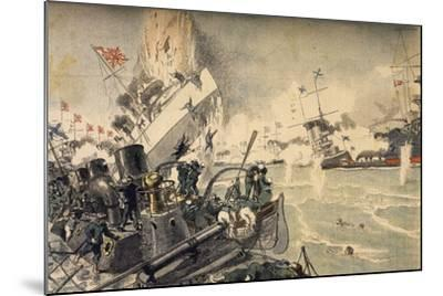 Battle of Tsushima Between Russian and Japanese Fleets, May 1905--Mounted Giclee Print