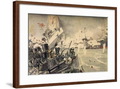 Battle of Tsushima Between Russian and Japanese Fleets, May 1905--Framed Giclee Print