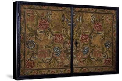 Embroidered Panel of Cabinet in Wood Painted Ebony Black, Italy, Detail--Stretched Canvas Print