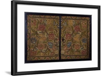Embroidered Panel of Cabinet in Wood Painted Ebony Black, Italy, Detail--Framed Giclee Print