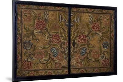 Embroidered Panel of Cabinet in Wood Painted Ebony Black, Italy, Detail--Mounted Giclee Print