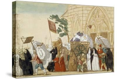 Caricature Depicting the Departure of the Clergy During the French Revolution--Stretched Canvas Print