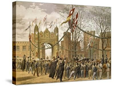 Prince of Wales and Alexandra of Denmark's Wedding, Procession Passing Eton College--Stretched Canvas Print