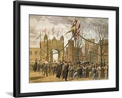 Prince of Wales and Alexandra of Denmark's Wedding, Procession Passing Eton College--Framed Giclee Print
