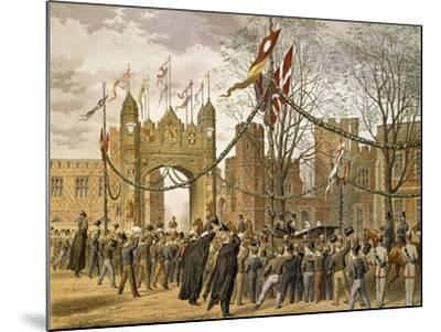 Prince of Wales and Alexandra of Denmark's Wedding, Procession Passing Eton College--Mounted Giclee Print